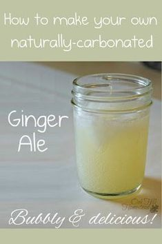 to Make Naturally-Carbonated Ginger Ale How to make naturally-carbonated ginger ale from real ginger; no artificial ingredients and it's delicious!How to make naturally-carbonated ginger ale from real ginger; no artificial ingredients and it's delicious! Ginger Ale Recipe, Homemade Ginger Ale, Ginger Bug, Ginger Drink, Fresh Ginger, Fresco, Fermentation Recipes, Natural Kitchen, Kitchen