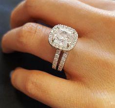 Authentic 2.75 Ct Cushion Cut Diamond Engagement Bridal Set H, VVS2 EGL 14k WG  #KingofJewelry #HaloEngagementBridalSet