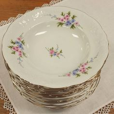 12 Soup/Salad Bowls ~ Pink and Violet Blue Flowers ~ Porcelain China ~ Wavel WAV88 ~ Made in Poland~ Service for 4 6 8 10 12