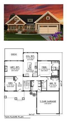 Craftsman House Plan 75202 | Total Living Area: 1734 sq. ft., 2 bedrooms and 2 bathrooms. #craftsmanhome