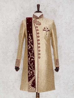Don't Just Pin Get It In Your Wardrobe. Jayashree Garments We Build Custom Bespoke As Well As Made to Measure Garments Suits, Blazer's, Royal Sherwanis And Our Speciality Is Mass Production Of School/College's Uniforms Sherwani For Men Wedding, Sherwani Groom, Mens Sherwani, Beige Wedding, Wedding Men, Wedding Suits, Wedding Ideas, Wedding Dresses, Groom Wear