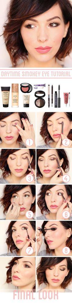 technique maquillage facile, comment appliquer fards à paupières et mascara, coupe de cheveux mi longs marron