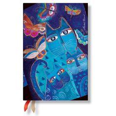 Agenda PAPERBLANKS (version ANGLAISE) Chats Bleus et Papillons format Mini 95x140 mm - 1 semaine sur 2 pages horizontal