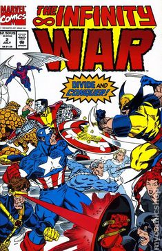 Infinity War (1992) 2 Marvel comic covers stones gauntlet thanos wolverine thing nick fury fantastic four captain america books 90's