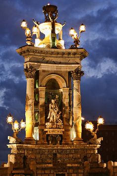 Fountain of Plaza de Espanya at night, Barcelona