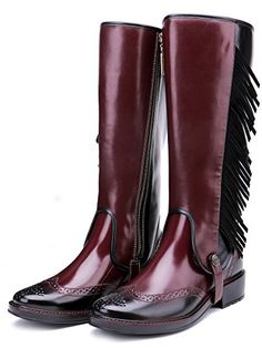 TONGPU Women's Mid Calf Rain Boots Fashion Tassel Rain Shoes For Women * Wonderful of your presence to drop by to visit our picture. (This is an affiliate link) Rain Boots Fashion, Rain Shoes, Rain And Snow Boots, Riding Boots, Tassel, Red, Photograph, Wine, Accessories