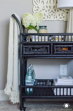 Black Rattan Bar Cart Night Stand with Guest Essentials- ideas for bar cart uses Black Bar Cart, Gold Bar Cart, Drinks Trolley, Bar Drinks, Guest Bedrooms, Guest Room, Bar Cart Decor, Diy Farmhouse Table, Modern Farmhouse