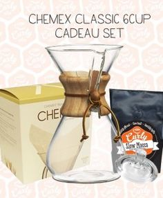 Chemex Classic 6 kops Cadeau set - complete set inclusief Chemex Classic, originele filters, glazen deksel en zakje Curly Coffee's Slow Mocca filterkoffie - exclusief bij CurlyCoffee.nl