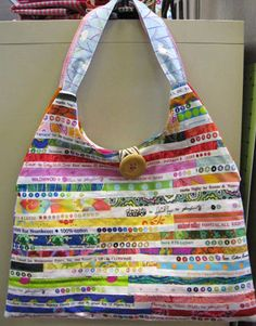 I love stuff sewn with selvages--great texture and color!  #rainbow #selvage #sewing #handbags