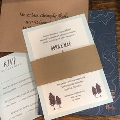 This invitation was printed on Italian card stock with a deckled edge. The paper band has a wood grain texture. We addressed the envelopes in a calligraphy style font.