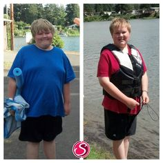 """Alice says ~  """"Whoa! I stumbled across this picture of Cooper from last July and HAD to do another comparison picture! The blue shirt is from July 2012. The red shirt is from July 2013. During the school year Cooper was drinking 4 Plexus Slims per week. Since summer started he drinks about 1-2 Slims a week, and he started taking 2 Probio5 at bedtime each night (these products were approved by his pediatrician)."""" READ MORE AT www.SlenderSuzie.com"""