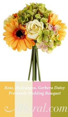 Rose, Hydrangea, Gerbera Daisy Wedding Bouquet in Yellow, Green, Cream, Pink, #weddingbouquet #gerberadaisy #afloral