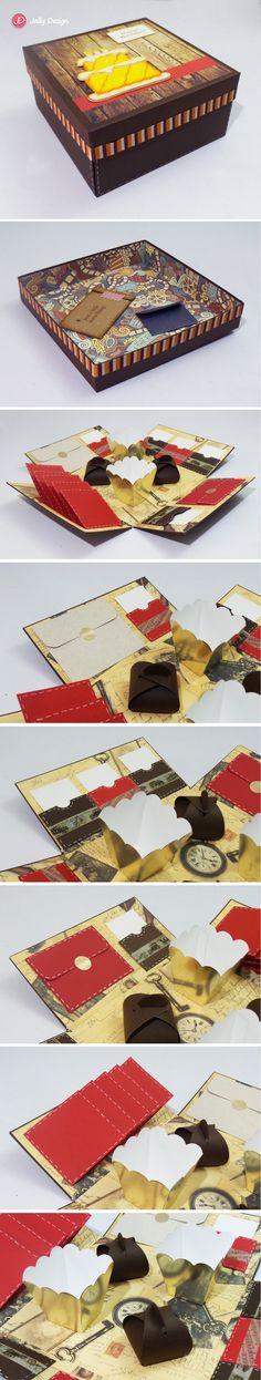 Caja scrapbook para fotos y mensajes (Caballero)