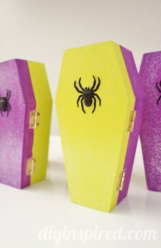 Glittered Coffin Halloween Party Favors DIY