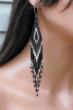 Extra Long Earrings in Black and Silver by CreationsbyWhiteWolf