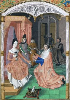 Dedication by Guillaume Fichet of his book Rhetorica to Yolande of France, Duchess of Savoy, Bodmer Library Cod. Bodmer f. 15th Century Fashion, 15th Century Clothing, 14th Century, French Royalty, Medieval Times, Medieval Fashion, Edwardian Era, King Charles, Female Portrait