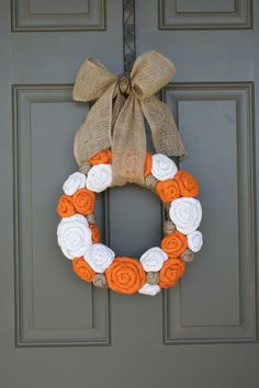 Pick Size/Thanksgiving Fall Jute Yarn Wreath/Burlap Flowers/Roses/Yarn Balls. $40.00, via Etsy.