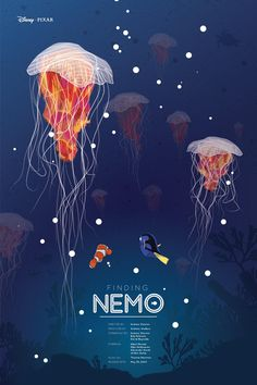 Finding Nemo Poster on Behance Posters Disney Vintage, Disney Movie Posters, Cartoon Posters, Movie Poster Art, Vintage Cartoon, Cartoons, Art Disney, Film Disney, Disney And More