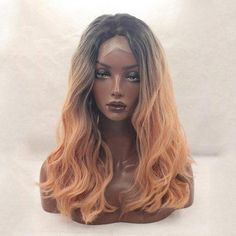 #RoseGal.com - #RoseGal Long Middle Part Ombre Fluffy Loose Wave Lace Front Synthetic Wig - AdoreWe.com
