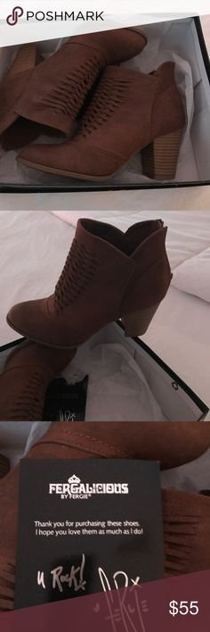 FERGIE ANKLE BOOTS FERGIE super cute ankle boots. Wore in house for one hour. Too big. Sueded leather Fergie Shoes Ankle Boots & Booties