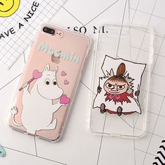 Soft Shockproof Clear TPU Cute Cartoon Hippo Moomin Fundas Phone Cases for iPhone 6 6S 7 Plus Cover Coque Capas Para
