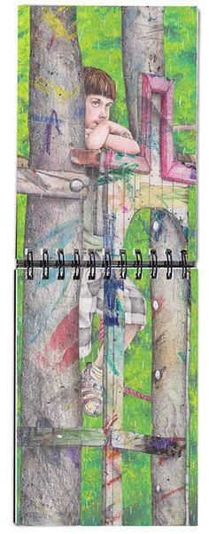 Cuaderno de bocetos 2014-15.- Patricia Pérez Redondo. Collage con papel pintado, gouache, lápices de colores...