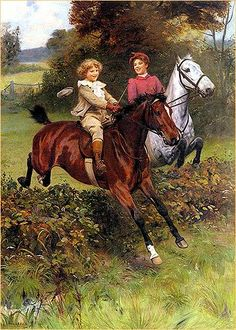 His First Fence    | art by SIR ARTHUR J. ELSLEY (1860-1952)
