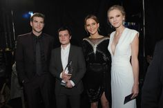 Liam Hemsworth, Josh Hutcherson, Jennifer Lawrence, and Taylor Swift at 39th Annual People's Choice Awards - Backstage And Audience