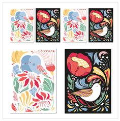 Birds double sided postcard set via Terese Bast Papershop. Click on the image to see more!