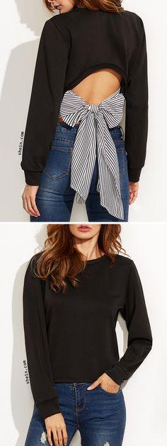 SHEIN Black Cutout Striped Bow Back Sweatshirt