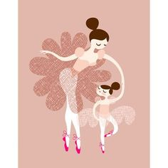 Evive Designs Ballerina Mother and Daughter Paper Print
