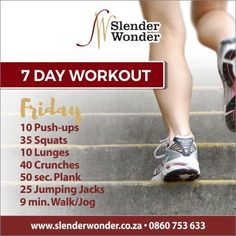 Lunges, Squats, Slender Wonder, 7 Day Workout, Jumping Jacks, Jogging, At Home Workouts, Push Up, Exercise