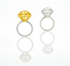 silver and gold vermeil large diamond cage rings