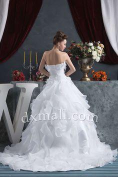 Drop Waist Wedding Dresses Strapless Court Train Satin-organza Satin Ivory 010010702856