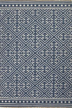 Jaipur BAT03 Flat-Weave Tribal Pattern Wool Blue/Ivory Area Rug ( 5X8 ) | Furniture, home decor, wall decor, rugs, lamps, lighting outlet.