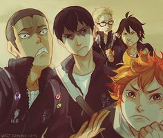 Tanaka-senpai is teaching his fellow kohais the important techniques of intimidation he mastered during his lifetime. Kageyama does a nice job except he's actually concerned if he wants to buy milk or juice. Tsukishima is surrounded by idiots. gotta finish more haikyuu!! selfies from twitter