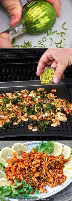 Do you enjoy calamari at your favorite restaurant? You should try this grilled calamari ring recipe. Calamari Recipes, Squid Recipes, Fish Recipes, Seafood Recipes, Asian Recipes, Healthy Recipes, Seafood Diet, Grilled Seafood, Fish And Seafood