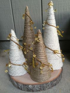 Christmas Holiday Paper Mache Cone Trees with twine or yarn, gold jeweled garland, table or mantle decoration - christmas dekoration Yarn Trees, Cone Trees, Little Christmas Trees, Christmas Holidays, Christmas Decorations, Christmas Ornaments, Holiday Decor, Christmas Tree Yarn, Christmas Paper