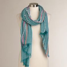 One of my favorite discoveries at WorldMarket.com: Blue Fringe Woven Scarf #MomInParadise