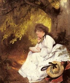 """""""Leserin under einem Baum (Reading Woman under a Tree)"""", 1874 / Karl Raupp (1837-1918)"""