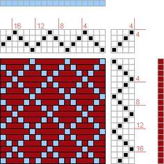Hand Weaving Draft: Twill Diamonds, , 4S, 4T - Handweaving.net Hand Weaving and Draft Archive