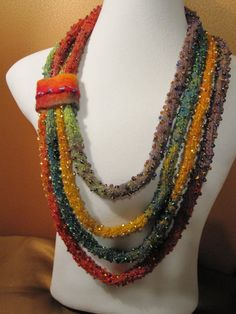 Beaded i cord knitted necklace