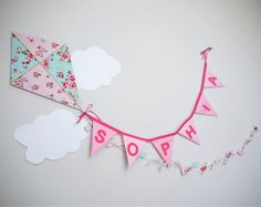 Wooden airplane and personalized name banner. by BossandMe on Etsy