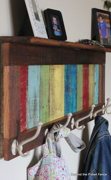 reclaimed pallet wood coat hook and shelf, pallet, shelving ideas, woodworking projects