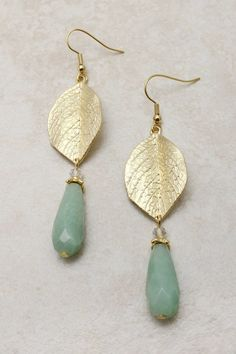 Intricate Gold Leaf Earrings with a Minty Amazonite Teardrop, $28.00