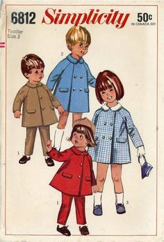 Vintage 1960s PATTERN Simplicity 6812 Boys Girls Coat Pant size 3 toddler #Simplicity