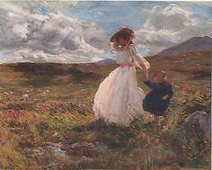 Mother & Daughter in Meadow on Windy Day  - 1907 Vintage Print - Charles Sims