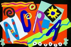 Check out student artwork posted to Artsonia from the Matisse Names project gallery at Cathedral School. Matisse Kunst, Henri Matisse, Matisse Art, Matisse Cutouts, Art 2nd Grade, Portfolio D'art, Portfolio Covers, Classe D'art, Artist Project
