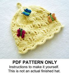 Knit Hat Knitting Pattern  Butterfly Hat by FiddlestyxStudios, $5.50