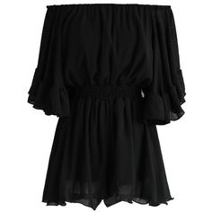 Chicwish Frill Like Dancing Off-shoulder Playsuit in Black (795 MXN) ❤ liked on Polyvore featuring jumpsuits, rompers, dresses, jumpsuit, tops, black, playsuit jumpsuit, off shoulder ruffle jumpsuit, off shoulder jumpsuit and flounce romper